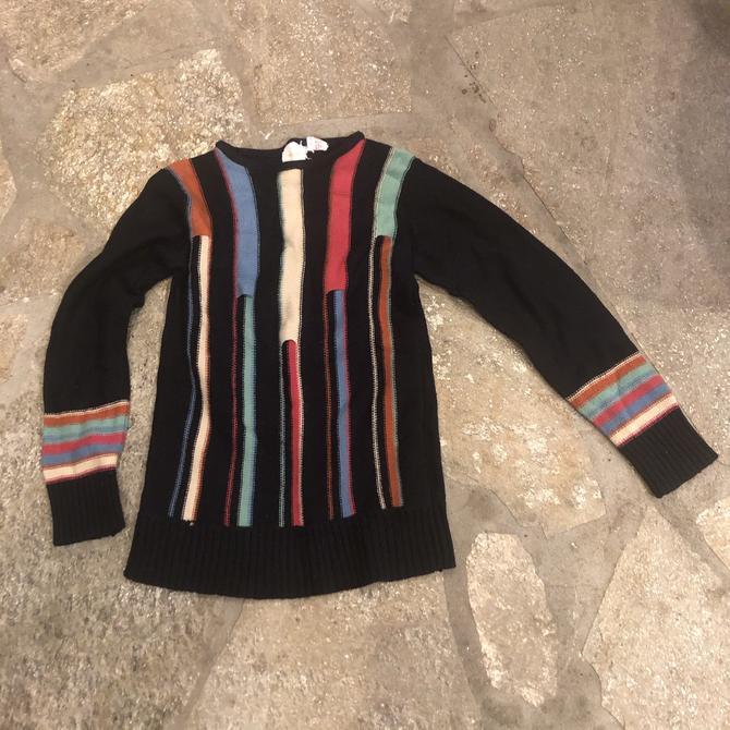 1970s Optical Illusion Rainbow Knit Sweater