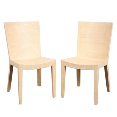 """Karl Springer Pair of """"JMF Chairs"""" in Lacquered Raffia 1993 (Signed)"""