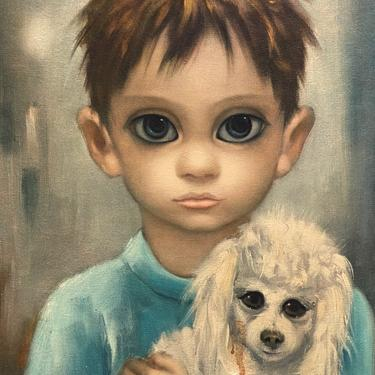 Keane Big Eyes Boy With Poodle Print No Dogs Allowed by Walkingtan
