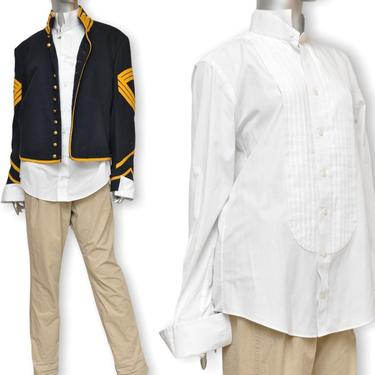 Vintage White Tuxedo Shirt Size Medium Button Front Shirt by TheUnapologeticSoul