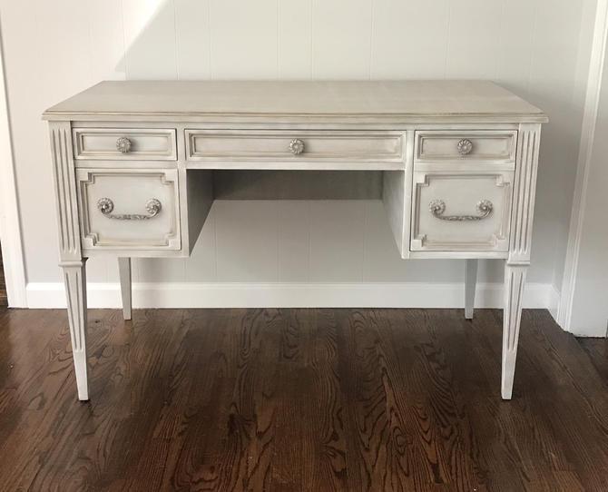 Gustavian Grey Desk/Vanity by SalvageChicStudio