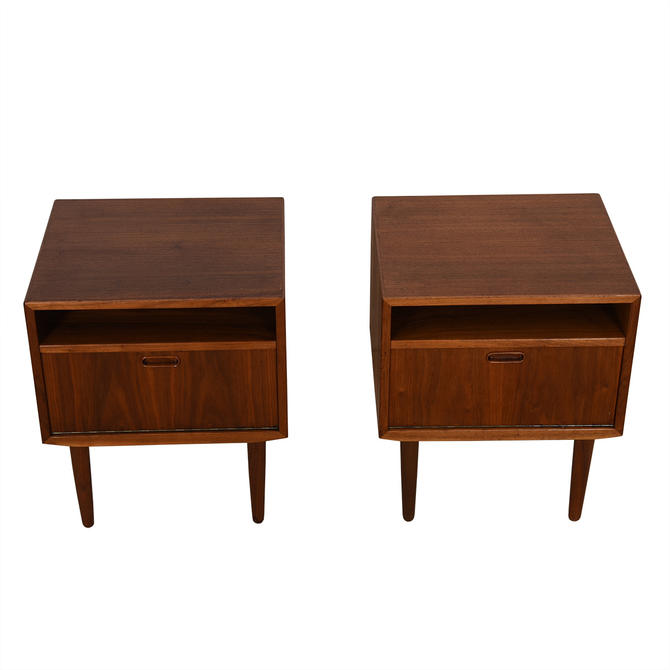 Pair of Danish Modern Walnut Night Stands  Accent Tables by Falster