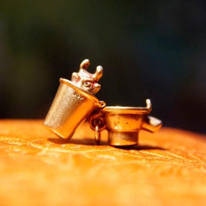 Vintage 14K Gold Devil In Cocktail Shaker Charm, Petite 3D Gold Charm, Pop Up Two-Face Devil, Crafted Gold Bracelet Charm, 15mm x 10mm by shopGoodsVintage