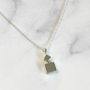 dainty silver square pendant necklace by MelangeBlancDesigns