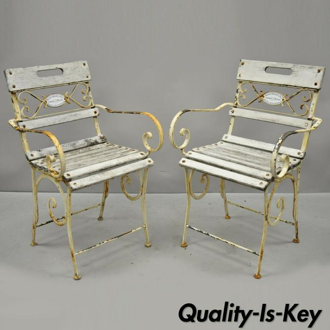 2 French Wrought Iron Wood Slat Seat Garden Arm Chairs by Maison Provence & Fils
