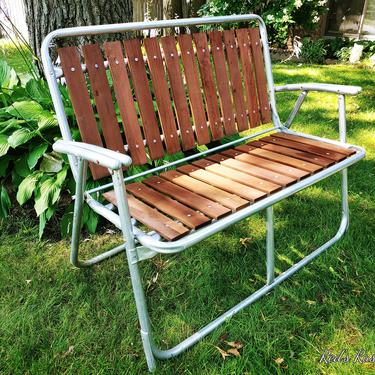 Vintage Wood and Aluminum Folding Garden/Lawn Lounge Chair Bench by RedsRustyRelics