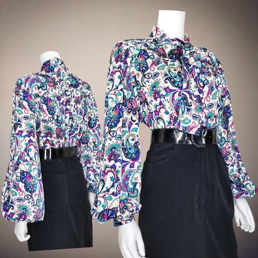 Volup Vintage Bishop Sleeve Blouse, XL, 2XL / Colorful Pussy Bow Top / Plus Size Silky Button Blouse / Jewel Tone Paisley Cocktail Blouse by SoughtClothier