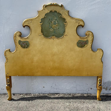 Antique Headboard French Provincial Neoclassical King Size Tolie Paint Glam Hollywood Regency Vintage Wood Bed Boudoir CUSTOM PAINT AVAIL by DejaVuDecors