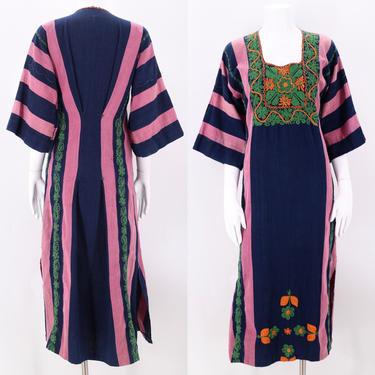 1970s Embroidered Striped Kaftan Dress  M  / vintage 1970s peasant prairie boho dress medium caftan by ritualvintage