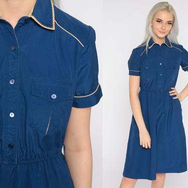 Blue Shirt Dress Utility Dress Midi 80s Shirtwaist Cotton Short Sleeve Shirtdress Button Up High Waisted 1980s Vintage Plain Small S by ShopExile