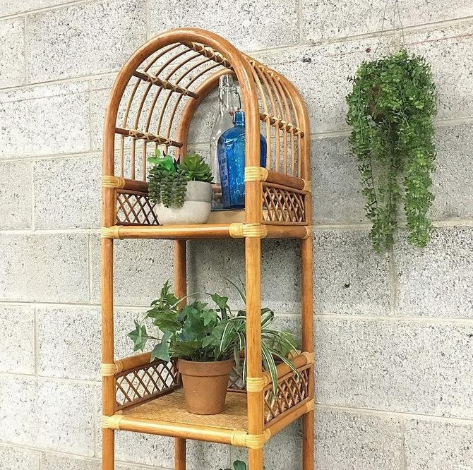 LOCAL PICKUP ONLY ------------- Vintage Rattan Shelving Unit by RetrospectVintage215
