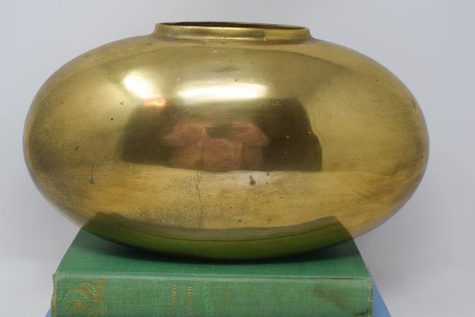 Vintage Brass Oval Vase by CapitolVintageCharm