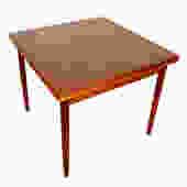 Danish Modern Teak Compact Square Expanding Dining Table