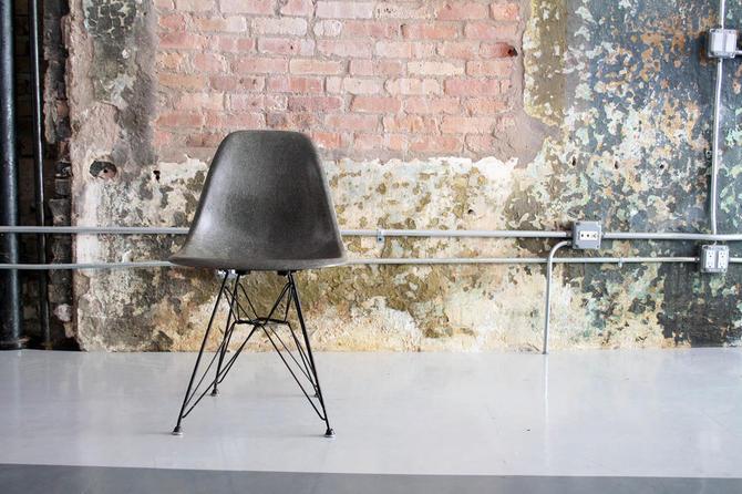 Elephant Grey Eames Side Shell Chair on Original Eiffel Base