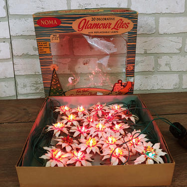 Tested Working Noma/Amico Poinsettia String 20 Midget Screw Lights Christmas Tree Lights in Original Box by RedsRustyRelics