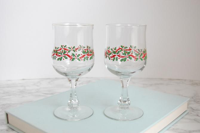 Vintage Holiday Goblet Glasses - Christmas Holly Glasses - Vintage Glassware by PursuingVintage1