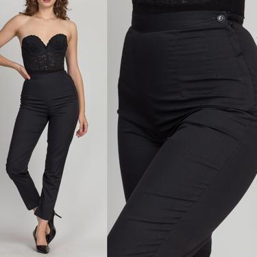 """70s Plain Black Cigarette Pants - Extra Small, 25.5"""" 