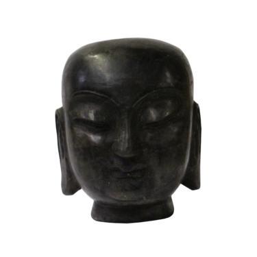 Chinese Oriental Black Stone Carved Monk Head Figure cs4763E by GoldenLotusAntiques