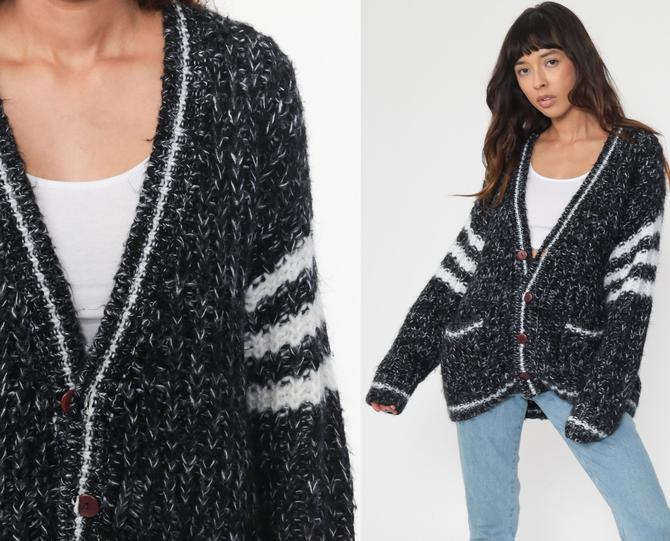 Wool Cardigan Sweater Black White Striped 80s Sweater Grunge Button Up 1980s Grandpa Slouchy Vintage Retro Boho Medium Large by ShopExile