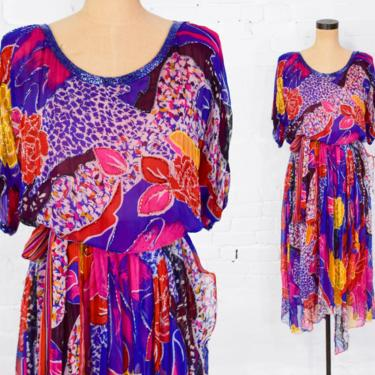 1980s Colorful Silk Beaded Dress | 80s Purple & Pink Silk Beaded Party Dress | Judith Ann Creations | M by GlennasVintageShop