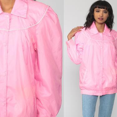 Bright Pink Jacket 80s Windbreaker Bomber Jacket PUFF SLEEVE Jacket Pastel Jacket Hipster Vintage 1980s Jacket Medium by ShopExile