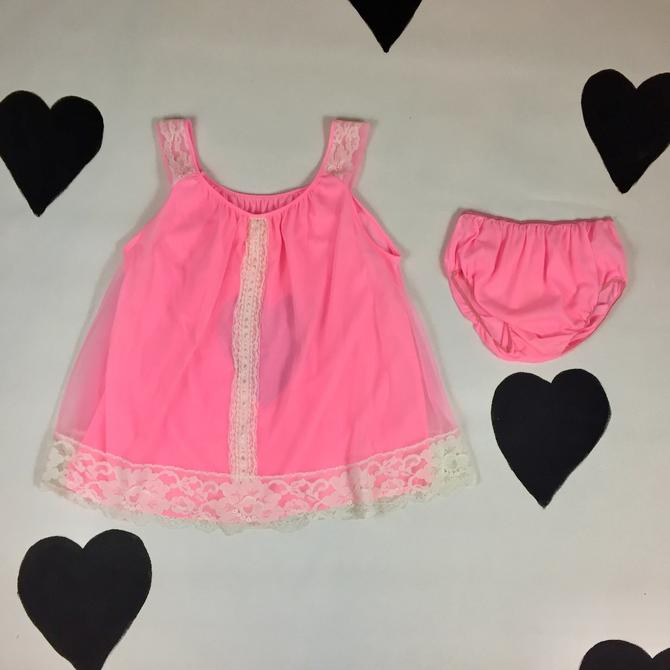 297127f8b 1960  39 s neon pink lingerie set 60  39 s sexy pinup lacy teddy ...