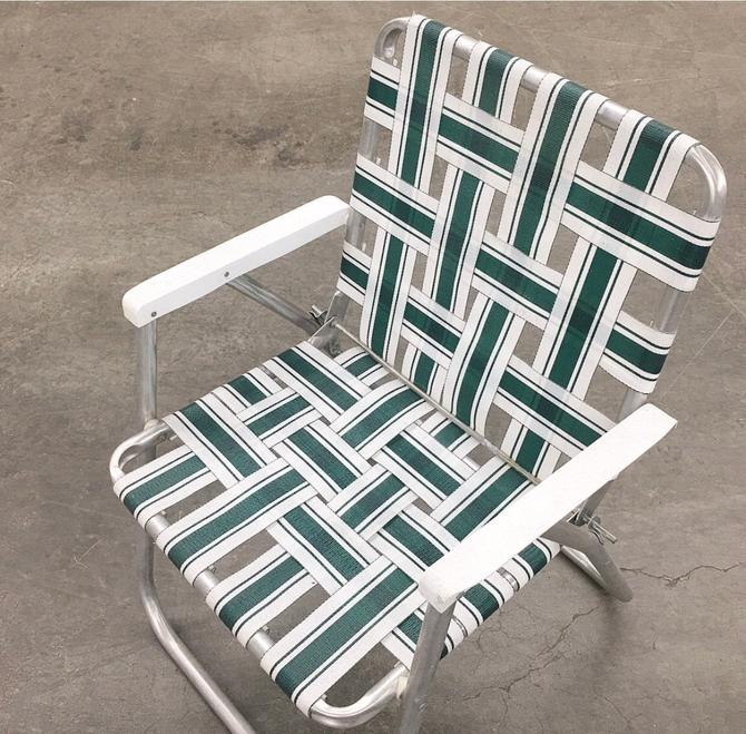 Vintage Lawn Chair Retro 1980s Sunbeam + Silver Aluminum + White and Green + Webbed Ribbon + Patio Furniture + Folded + Beach Chair by RetrospectVintage215
