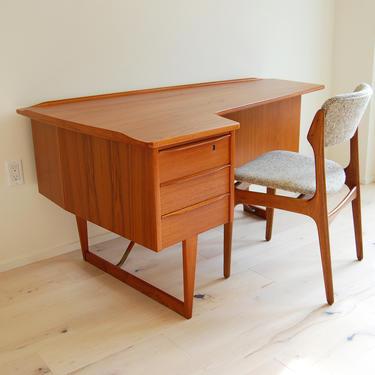 Danish Modern Peter Lovig Nielsen Teak Boomerang Desk Dansk Designs by MidCentury55