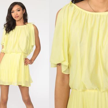 Grecian Dress 70s Mini Party Yellow FLUTTER SLEEVE 1970s Boho High Waist Pleated Dress Drape Gown Formal Medium Petite by ShopExile