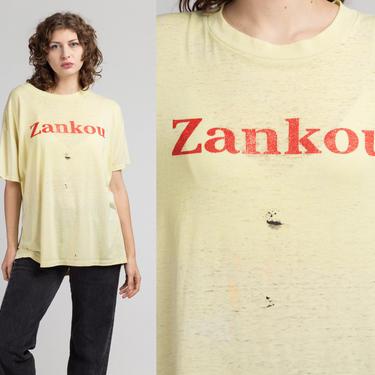 Vintage Zankou Chicken T Shirt - Men's XL   80s Yellow Paper Thin Burnout Graphic Los Angeles Restaurant Tee by FlyingAppleVintage