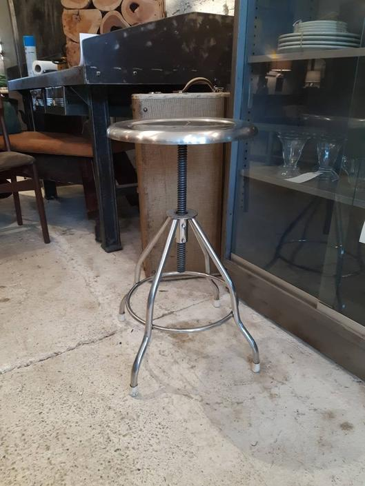 Vintage industrial stainless steel adjustable medical stool by StateStreetSalvage