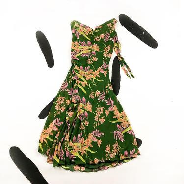 90s Green and Pink Floral Asymmetrical Slip Dress / Handkerchief / Ruching / Fluttery / Cowl Neck / Tank Dress / Size 4 / 00s / SATC / S / by badatpettingcats