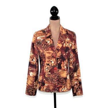 Orange & Brown Floral Blazer Women, Paisley Jacket Small Medium, Casual Fall Clothes, Y2K Vintage Clothing by MagpieandOtis
