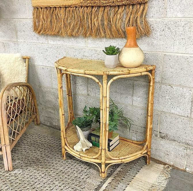 LOCAL PICKUP ONLY -------------- Vintage Rattan Table by RetrospectVintage215