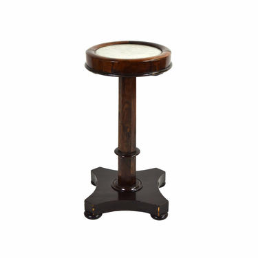 Antique Rosewood Pedestal Sculpture Stand with Inset Marble Top by PrairielandArt