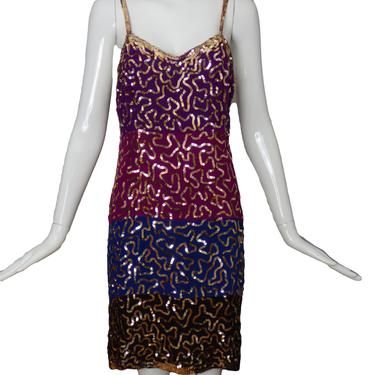 JUDITH ANN CREATIONS-1980s Color Block Slip Dress, Size-Medium