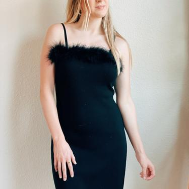 Vintage 90s Fuzzy Top Black Dress by MadroneClothing