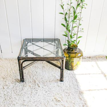 Beautiful Sunrise Bamboo Side Table with Thick Glass Top by PortlandRevibe