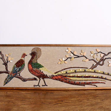 MCM, Mod Retro Mosaic Bird Wall Hangings made of Rocks, Stones and Beads, Tropical 60s MidCentury Mid Century Art, Wall Hanging, Peacock by FORAGEmodernhome