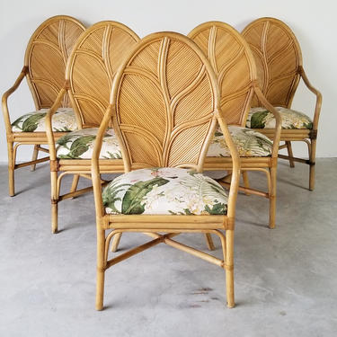 McGuire Style Tropical Rattan Leaf Back Arm Dining Chairs - Set of 5 by MIAMIVINTAGEDECOR
