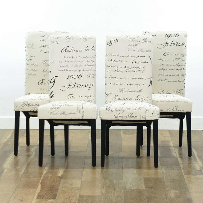Set Of 4 Contemporary Script Upholstery Dining Chairs
