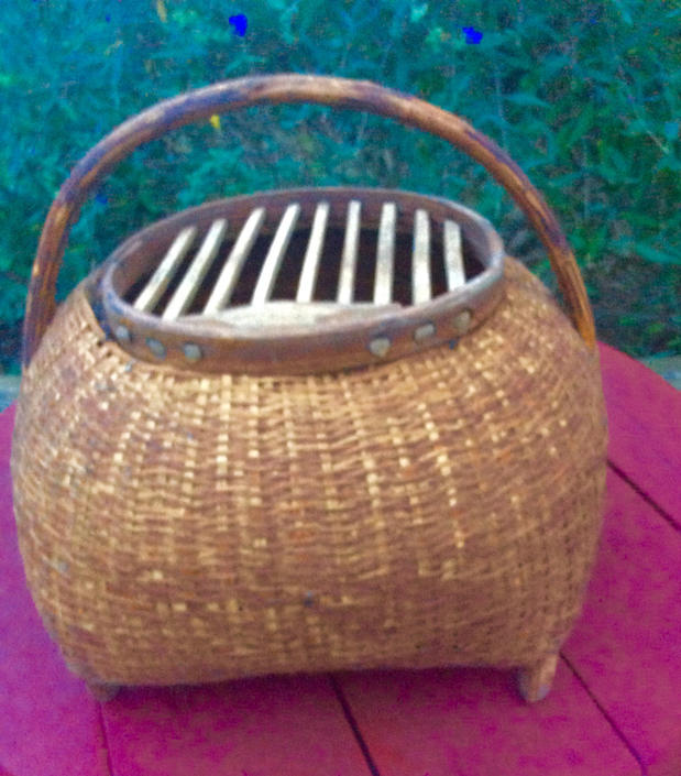 Rare Antique French primitive hand woven Bird Snake animal travel basket ca. 1920's-1930s by LazyCamel
