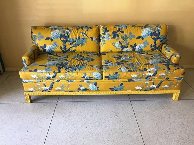 Sunshine yellow and blue chinoiserie printed sleeper sofa