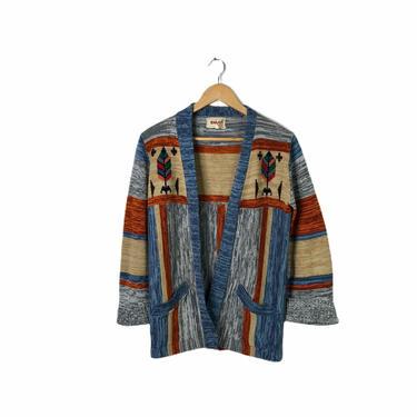 Vintage 70's Skiva Space Dye Arrow Blue Cardigan Sweater, Bell Sleeves, Size M - Missing Belt by Northforkvintageshop