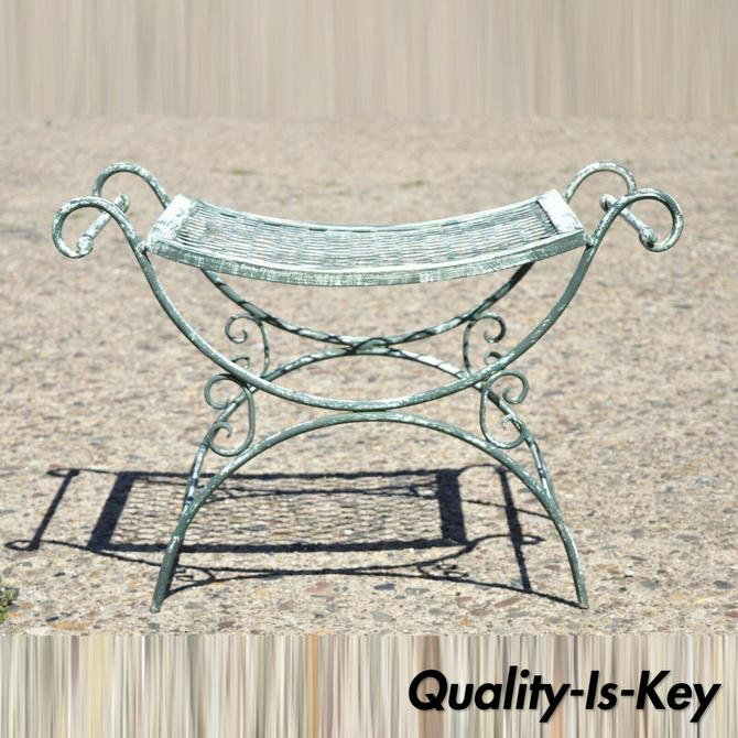 Vintage Wrought Iron Curule Mesh Bench Mid Century Green White Hollywood Regency