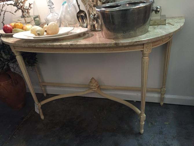 SOLD - Demi Marble top Vintage console Table