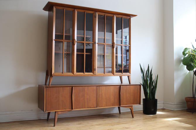 Mid Century Modern Hungerford Walnut Dining Cabinet by SharkGravy