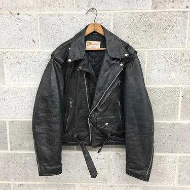 Vintage Motorcycle Jacket Retro 1970s  Excelled + Genuine Leather + Size 46R + Quilted Lining + Zipper Sleeves + Belted + Apparel by RetrospectVintage215