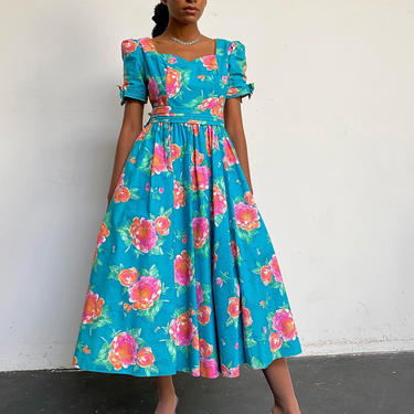 Incredible Vintage 80s Cotton Laura Ashley Aqua Floral Puff Sleeve Dress  Size S/M by 40KorLess