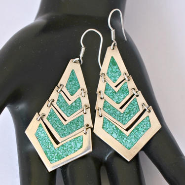 70's Taxco sterling green turquoise big hinged panel hippie shoulder dusters, Mexico TI-54 925 silver gemstone mod boho chandelier earrings by BetseysBeauties